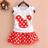 2017 New - 2 pcs Minnie Children Suit Dress 2-7T