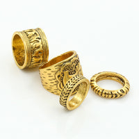 4PCS Ethnic Totem Leaf Lucky Rings