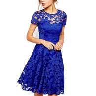 Brand Name: RAGEDEOR Material: Polyester,Lace Style: Sweet Silhouette: A-Line Pattern Type: Solid Sleeve Length(cm): Short Decoration: Lace Dresses Length: Above Knee, Mini Sleeve Style: Regular Waistline: Natural Neckline: O-Neck Season: Summer Gender: Women Gender: Women The listed season/year: 2016 Summer Colour: Red, black, blue Size: S,M,L,XL,XXL,3XL, 4XL 5XL Unit Type: piece Package Weight: 0.26kg (0.57lb.) Package Size: 30cm x 20cm x 10cm (11.81in x 7.87in x 3.94in)