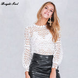 Gender: Women Style: Fashion Sleeve Length(cm): Full Pattern Type: Solid Collar: O-Neck Clothing Length: Long Decoration: Hollow Out Brand Name: BRIGHT GIRL