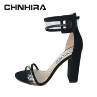 Brand Name: chnhira Upper Material: PU Sandal Type: Ankle Strap Occasion: Casual Closure Type: Buckle Strap Outsole Material: Rubber Model Number: CH374 Insole Material: PU Pattern Type: Solid Style: Fashion Heel Height: Super High (8cm-up) Fashion Element: Buckle Back Counter Type: Back Strap Side Vamp Type: Open Heel Type: Square heel With Platforms: Yes Platform Height: 0-3cm Lining Material: PU Fit: Fits true to size, take your normal size D