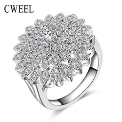 Item Type: Rings Fine or Fashion: Fashion Brand Name: CWEEL Metals Type: Zinc Alloy,Silver Plated Shape\pattern: Plant Rings Type: Wedding Bands Gender: Women Style: Trendy Setting Type: Prong Setting Material: Crystal Occasion: Party