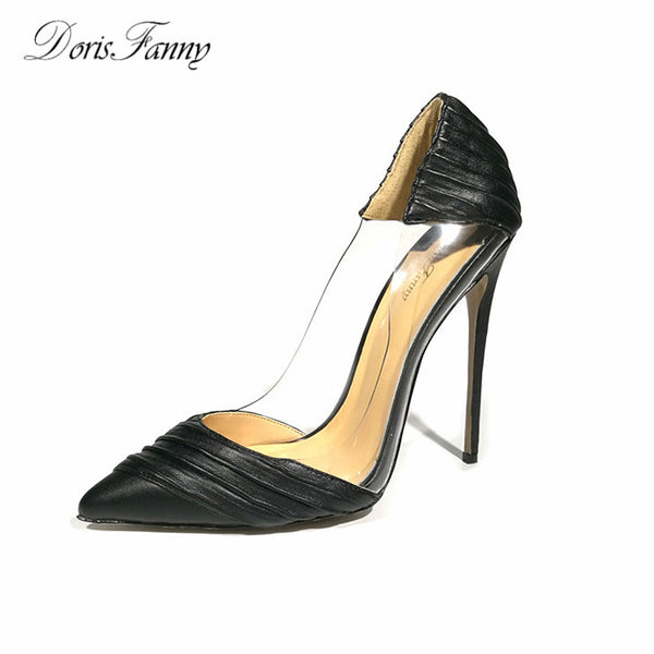 Gender: Women Item Type: Pumps Upper Material: Microfiber Pump Type: Basic Occasion: Party Fit: Fits true to size, take your normal size Heel Type: Thin Heels Closure Type: Slip-On Heel Height: Super High (8cm-up) Style: Sexy With Platforms: No is_handmade: Yes Insole Material: Sheepskin Toe Shape: Pointed Toe Outsole Material: Rubber Fashion Element: Pleated Brand Name: DorisFanny Season: Spring/Autumn