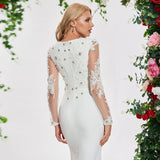 Dressv ivory elegant trumpet long sleeves wedding dress v neck appliques floor length bridal outdoor&church wedding dresses