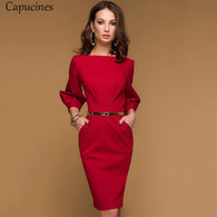 Gender: Women Sleeve Style: Lantern Sleeve Dresses Length: Above Knee, Mini Neckline: O-Neck Decoration: Draped Season: Autumn Model Number: D038 Sleeve Length(cm): Three Quarter Brand Name: Capucines Style: Office Lady Waistline: Natural Material: Polyester,Spandex Silhouette: Pencil Pattern Type: Solid
