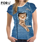 tem Type: Tops Tops Type: Tees Gender: Women Style: Fashion Collar: O-Neck Sleeve Length(cm): Short Brand Name: FORUDESIGNS Fabric Type: Broadcloth Model Number: BV Pattern Type: Animal Clothing Length: Regular Material: Polyester,Spandex,Cotton