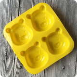 Four holes Mickey Mouse Winnie the Pooh Silicone Soap Mold DIY Handmade Soap Cake Candle Chocolate Mold Soft Cooling Mold