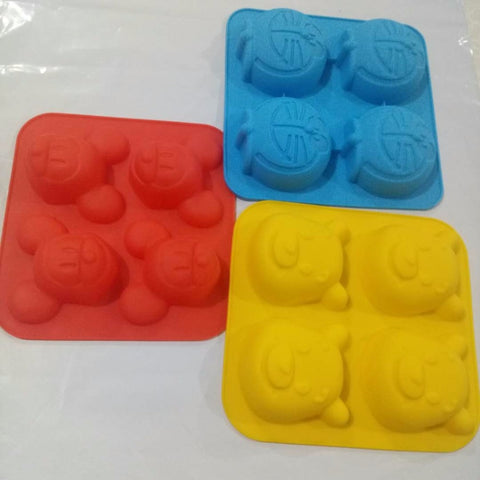Four holes Mickey Mouse Winnie the Pooh Silicone Soap Mold