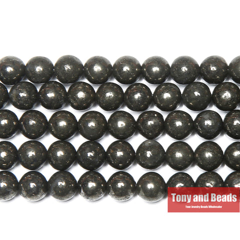 "Free Shipping Natural Stone Iron Pyrite Round Loose Beads 15"" Strand 4 6 8 10MM Pick Size For Jewelry Making"