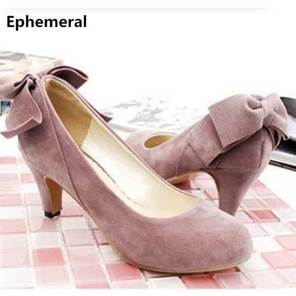Gender: Women Item Type: Pumps Brand Name: Ephemeral Pump Type: Basic Lining Material: PU Style: Sweet Heel Type: Thin Heels Fit: Fits true to size, take your normal size Closure Type: Slip-On Fashion Element: Butterfly-knot With Platforms: No Insole Material: PU Occasion: Casual is_handmade: Yes Model Number: 268 Toe Shape: Round Toe Heel Height: High (5cm-8cm) Outsole Material: Rubber Upper Material: Flock Season: Spring/Autumn Color Style: Pink/Silver/Brown/Black