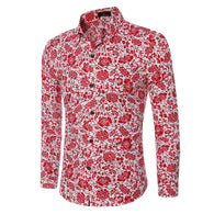 Personality Flower Print Dress Shirt