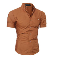 Item Type: Shirts Gender: Men Pattern Type: Solid Shirts Type: Casual Shirts Brand Name: QINGYU Collar: Square Collar Model Number: mens shirt Fabric Type: Broadcloth Material: Cotton,Polyester,Polyester Fiber Closure Type: Single Breasted Style: Casual Sleeve Length(cm): Short Sleeve Style: Regular