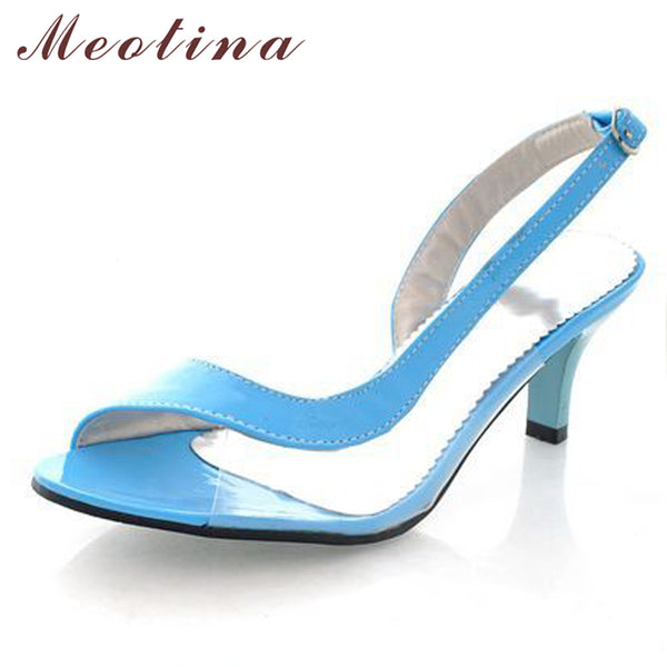 Brand Name: Meotina Insole Material: PU Occasion: Casual With Platforms: Yes Heel Type: Spike Heels Closure Type: Buckle Strap Side Vamp Type: Covered Heel Height: High (5cm-8cm) Outsole Material: Rubber Fashion Element: Shallow Sandal Type: Basic Pattern Type: Patchwork Model Number: 222 sandals Color: Black Yellow Blue Green Red White Pink