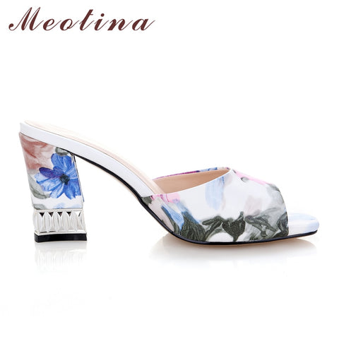 ... Meotina Shoes Women Sandals Summer Square Toe Slippers Casual Thick  Medium Heels Ladies Slides Print Purple ... c6b1d9b73373