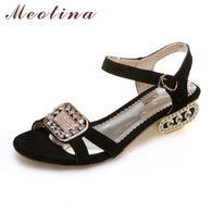 Department Name: Adult Item Type: Sandals Lining Material: PU Style: Fashion Upper Material: Cow Suede Back Counter Type: Front & Rear Strap Fit: Fits true to size, take your normal size Side Vamp Type: Open Platform Height: 0-3cm Brand Name: Meotina Insole Material: PU Occasion: Casual With Platforms: Yes Closure Type: Buckle Strap Pattern Type: Solid Heel Type: Square heel Model Number: 2017 heels 41