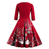 Vintage Autumn Printed Dress Printed- party dress