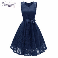Nemidor V-neck Swing A-line Lace Dress