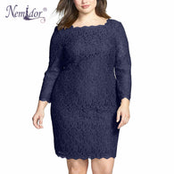 Gender: Women Dresses Length: Knee-Length Model Number: Plus size lace dress Sleeve Length(cm): Three Quarter Season: Summer Style: Casual Material: Polyester,Lace Sleeve Style: Regular Pattern Type: Solid Brand Name: Nemidor Decoration: Lace Neckline: Square Collar Silhouette: Sheath Waistline: Natural