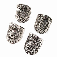 4Pcs Ethnic Silver Plated Midi Rings