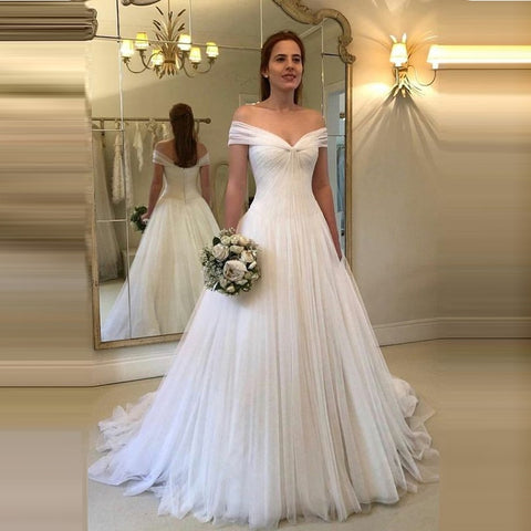 Off Shoulder Wedding Dresses Simple Tulle Vestido De Noiva Robe De Mariage Dresses Married White Bridal Gown