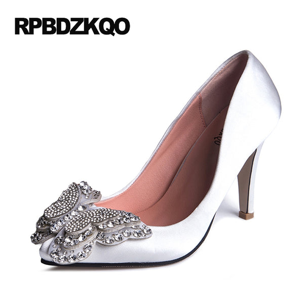 Item Type: Pumps Pump Type: Basic Lining Material: Lycra Occasion: Wedding Fit: Fits true to size, take your normal size Style: Elegant Closure Type: Slip-On Platform Height: 0-3cm Upper Material: Satin Insole Material: PU With Platforms: Yes Heel Type: Spike Heels is_handmade: Yes Toe Shape: Pointed Toe
