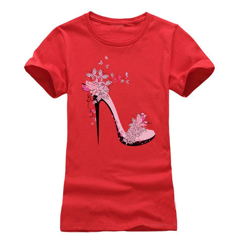 Printed High-heeled Shoes T-shirt