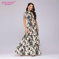 Gender: Women Dresses Length: Ankle-Length Neckline: O-Neck Sleeve Length(cm): Short Model Number: MNL0371MS Sleeve Style: Regular Style: Bohemian Material: Polyester Waistline: Natural Decoration: None Brand Name: S.FLAVOR Season: Summer Pattern Type: Print Silhouette: A-Line