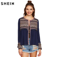 Collar: O-Neck Style: Casual Brand Name: SheIn Fabric Type: Broadcloth Decoration: Tassel Material: Rayon Pattern Type: Print Clothing Length: Regular Sleeve Style: Regular Date: 2017.2.6 Fabric: Fabric has no stretch