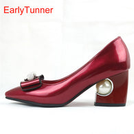 Gender: Women Item Type: Pumps Pump Type: Basic Lining Material: PU Style: Fashion Upper Material: PU Fit: Fits true to size, take your normal size Closure Type: Slip-On Model Number: AY6s Fashion Element: Butterfly-knot With Platforms: No Insole Material: PU is_handmade: Yes Brand Name: EarlyTunner Toe Shape: Pointed Toe