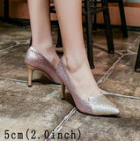 Gender: Women Item Type: Pumps Pump Type: Basic Style: Fashion Lining Material: Lycra Occasion: Wedding Heel Type: Thin Heels Fit: Fits true to size, take your normal size Closure Type: Slip-On Platform Height: 0-3cm Insole Material: Bonded Leather Upper Material: Sequined Cloth Model Number: zl1851499649451 With Platforms: Yes is_handmade: Yes Toe Shape: Pointed Toe