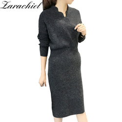 Cross V-Neck Knitted Dress