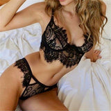 Sexy Lace Bralette Sets Women Black White Lingerie Trim Straps Bra Soft Push Up Top Deep V Cross Back Bras Transparent Cup