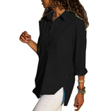 Sexy V Neck Chiffon Shirts Womens Fashion Long Sleeve Irregular Blouses Solid Color Turn-Down Collar Shirts Ropa Mujer WS9817U
