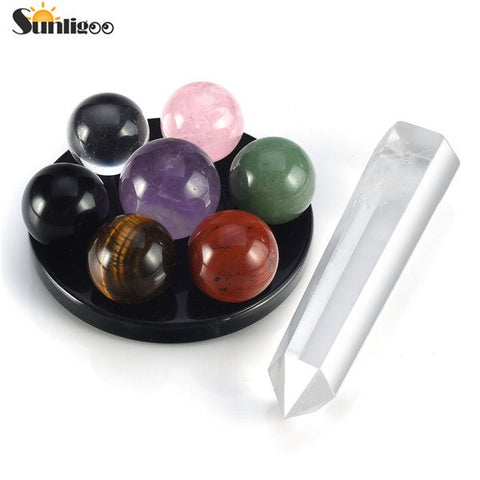 Sunligoo 2017 Newest Chakra Healing Kit Seven Star Group Crystal Balls Spheres on Obsidian Stand and Clear Quartz Crystal Wand