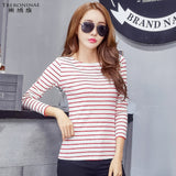 Item Type: Tops Tops Type: Tees Gender: Women Brand Name: Treroninae Sleeve Length(cm): Full Style: Casual Pattern Type: Striped Material: Spandex,Cotton Fabric Type: Knitted Decoration: None Clothing Length: Regular Collar: Slash neck Sleeve Style: Regular