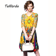 Tafforda Bright Yellow Sunflower Print  Dress