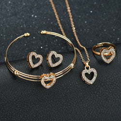 4 pcs Heart Shaped Necklace Earring Sets
