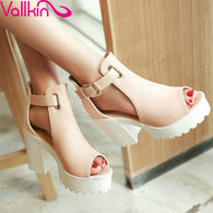 Department Name: Adult Item Type: Sandals Back Counter Type: Back Strap Lining Material: PU Style: Fashion Occasion: Party Upper Material: PU Fit: Fits true to size, take your normal size Heel Type: Thin Heels Side Vamp Type: Open Platform Height: 0-3cm Heel Height: Super High (8cm-up) Sandal Type: Ankle Strap
