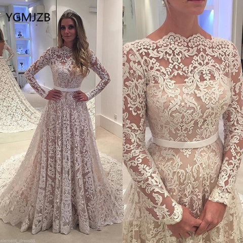 Lace Vintage Wedding Dress.Vestido De Noiva 2018 Vintage Wedding Dress Lace Boat Neck Long Sleeves Backless Bridal Gown Casamento Mariag Robe De Mariee 1