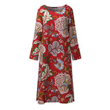 Brand Name: ZANZEA Material: Cotton Style: Vintage Silhouette: Loose Pattern Type: Print Sleeve Length(cm): Full Decoration: Pockets Dresses Length: Mid-Calf Sleeve Style: Regular Waistline: Natural Neckline: O-Neck Season: Autumn Model Number: LL243 Gender: Women