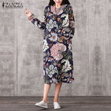 ZANZEA Women Vintage Cotton Print Loose O Neck Dress