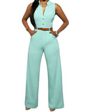 Women Sleeveless Jumpsuit- Long Pants Overall with Belt