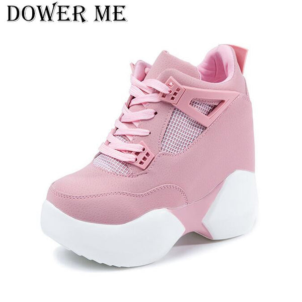 Occasion: Casual Insole Material: PU With Platforms: Yes is_handmade: Yes Model Number: sneakers Closure Type: Lace-Up Heel Height: High (5cm-8cm) Toe Shape: Round Toe Brand Name: dower me Outsole Material: Rubber Fashion Element: Cross-tied Lining Material: Polyester Heel Type: Increased Internal Season: Spring/Autumn