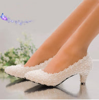 Pearl Flower Diamond Shoes