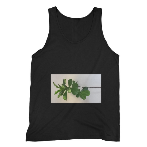 Fine Jersey Tank Top with white background rectangle window containing dark green leaves inside, 23.99 each, sm, med, lrg, xL:Four colors- black, white, navy, and red