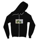 Fine Jersey Zip Hootie with chest design of window opening and green plant leaves. Price $47.99. Sizes s, m, L, xL: 2 colors, black , white