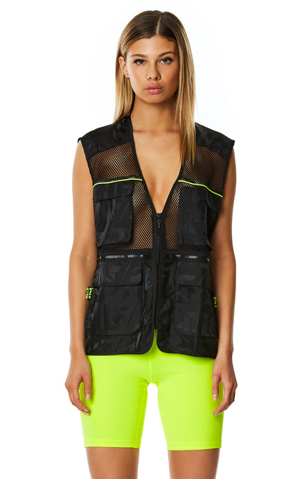 DIGITAL NEON NET WINDBREAKER CARGO VEST