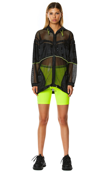 DIGITAL NEON OVERSIZED NET WINDBREAKER JACKET