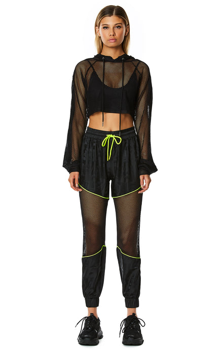 DIGITAL NEON CROP NET HOODED PULLOVER