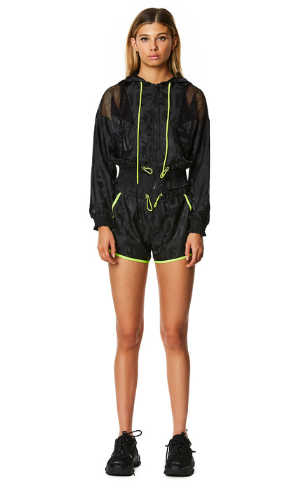 DIGITAL NEON NET INSERT HOODED WINDBREAKER JACKET